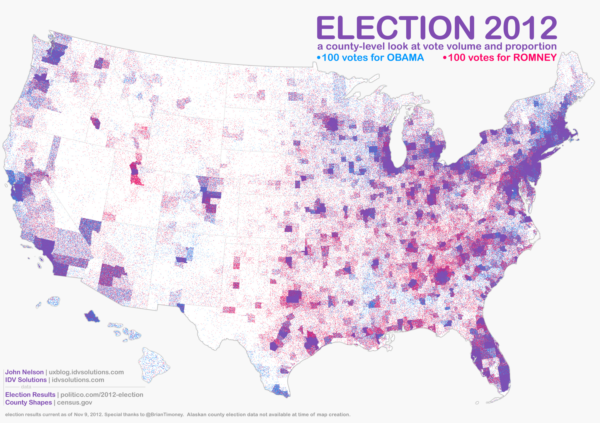 Map Of The Week Dot Mapping The Vote Election Alex B Hill - Us census dot map