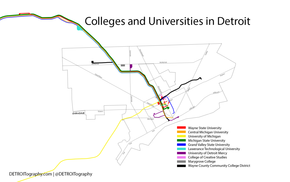 Map: Colleges and Universities in Detroit