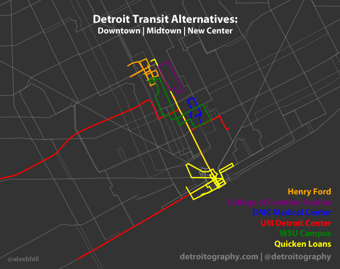 Detroit Transit Alternatives Map: Toward Public – Private Partnerships