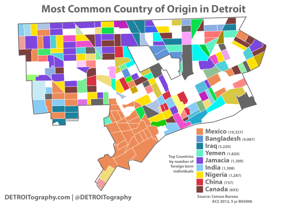 Map: Most Common Country of Origin in Detroit