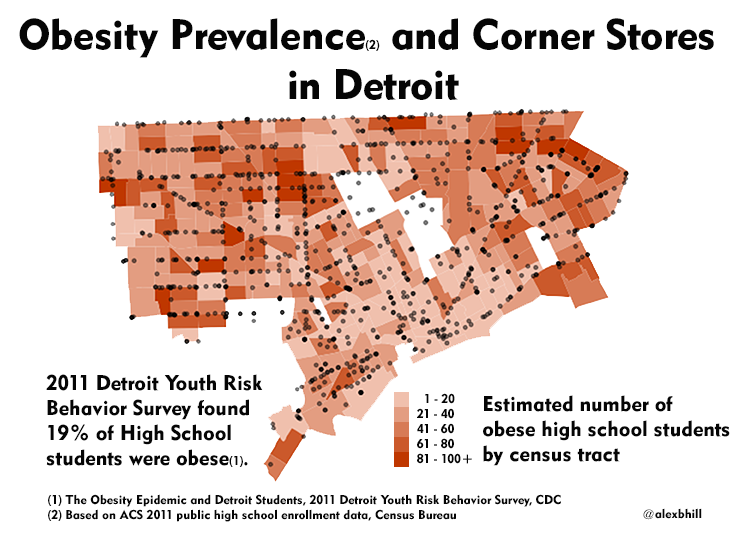 Map: Obesity and Corner Stores in Detroit