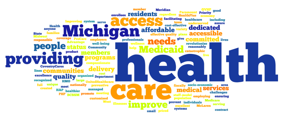 Michigan Health Insurance Mission Statements Text Analysis