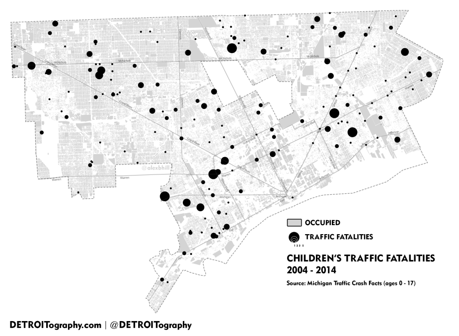 Map: Children's Traffic Fatalities in Detroit 2004 – 2014
