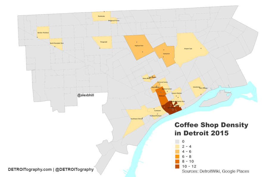 Map: Detroit Neighborhood Coffee Shop Density 2015