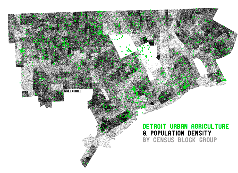Map: Urban Agriculture in Detroit 2014