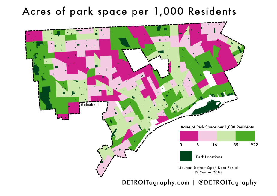 Map: Park Acres Per Resident in Detroit
