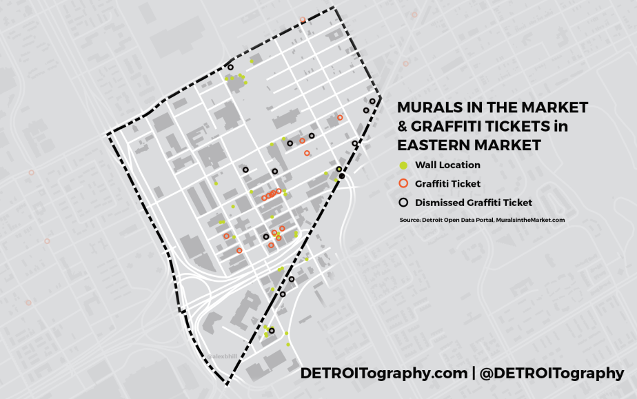 Map: Detroit Murals in the Market vs. Graffiti Tickets