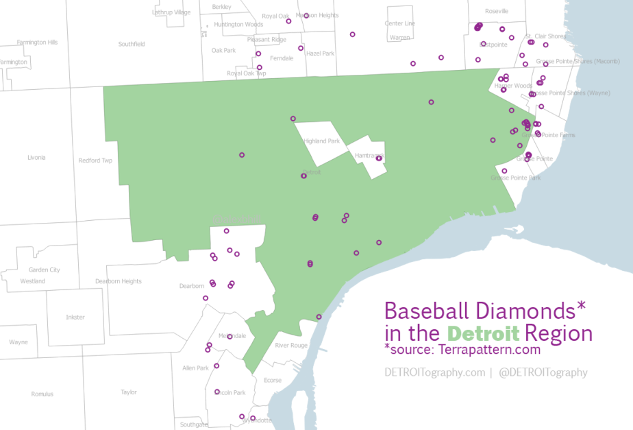Map: Geography of Baseball Diamonds in the Detroit Region