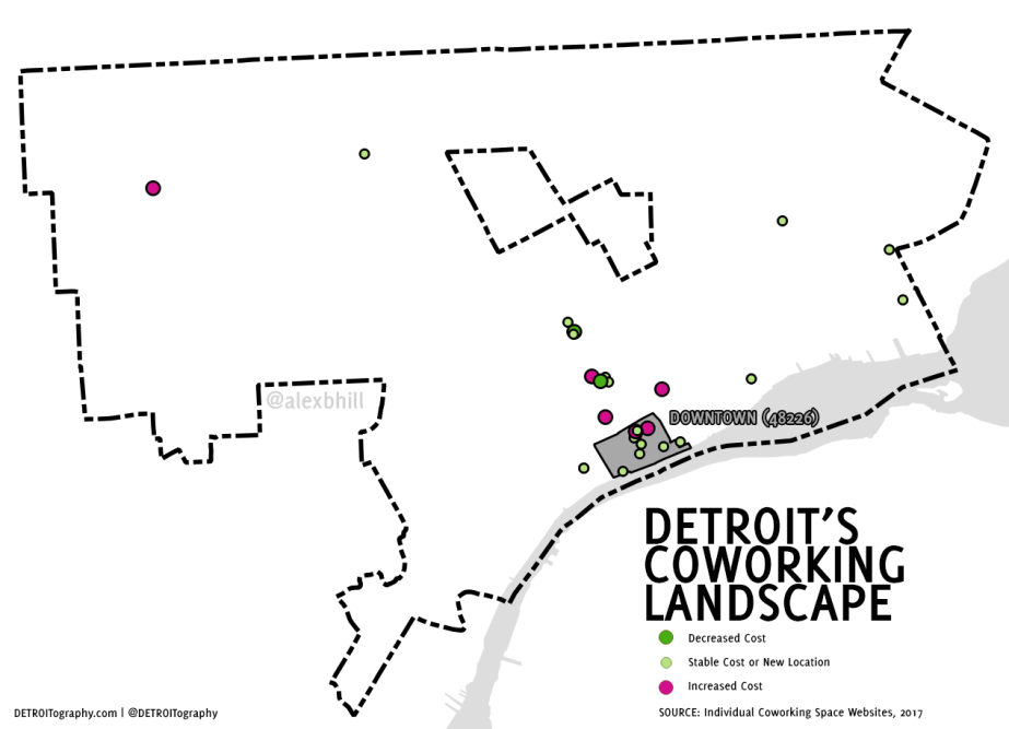 Map: The Shifting Cost of Coworking in Detroit 2014 to2017