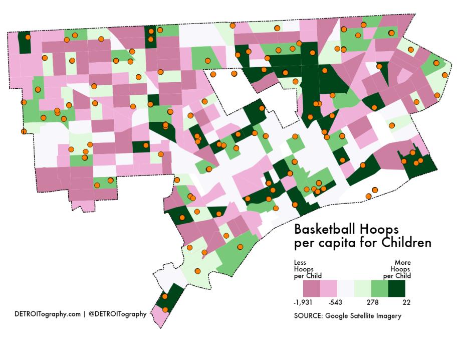 Map: Basketball Hoops per capita for Children in Detroit2017